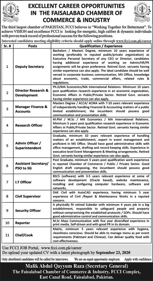 Faisalabad Chamber of Commerce & Industry Jobs 2020