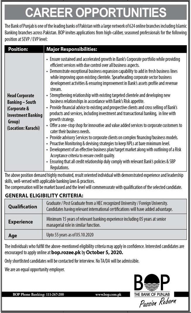 The Bank of Punjab BOP Jobs 2020 in Karachi