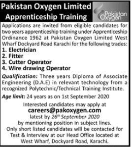 Pakistan Oxygen Limited Apprenticeship Training 2020