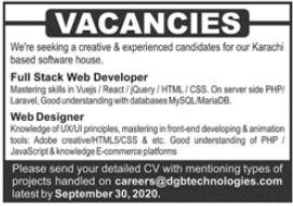 Full Stack Web Developer & Web Designer Jobs 2020