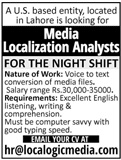 Media Localization Analysts Jobs 2020 in Lahore