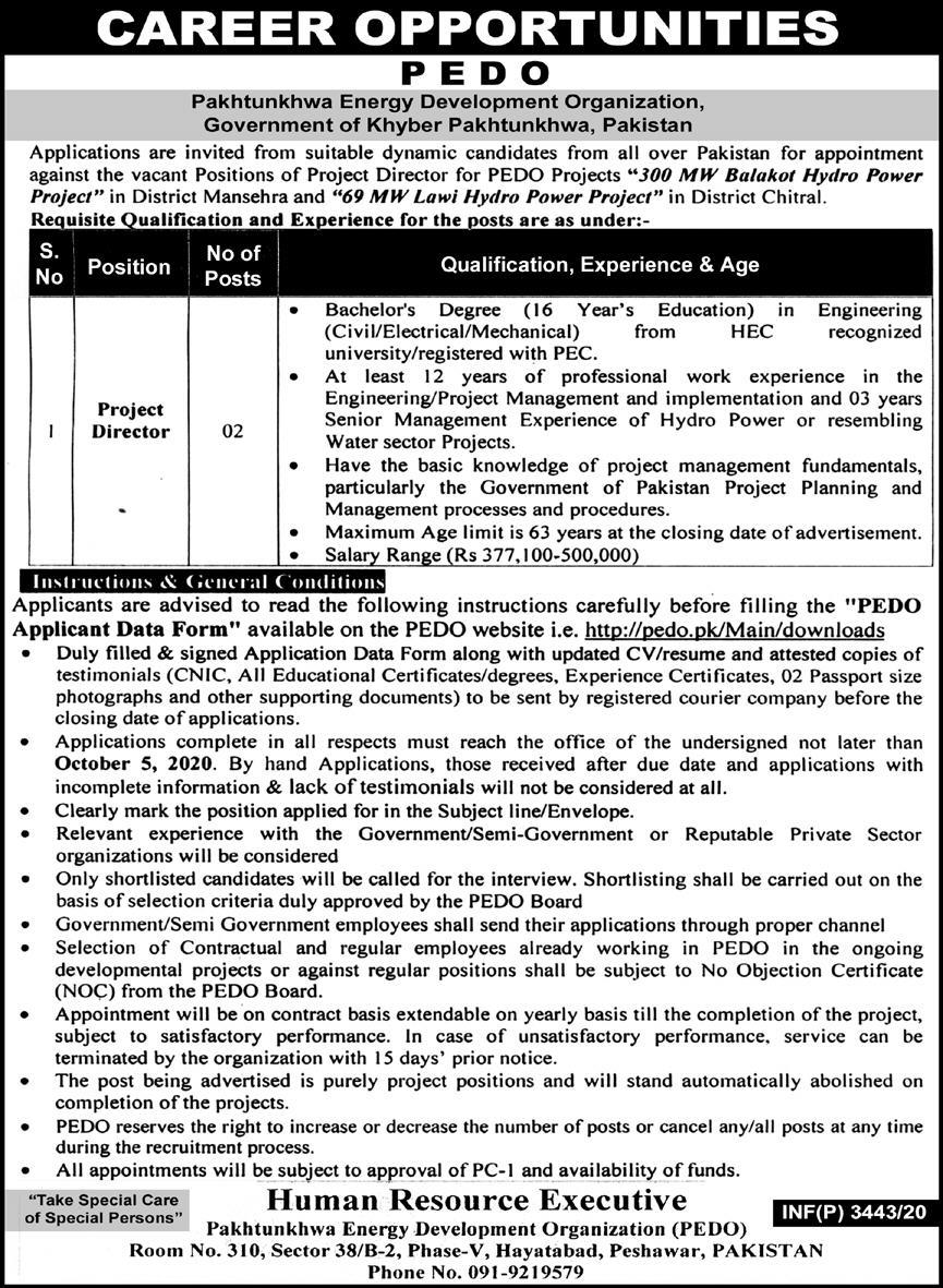 Pakhtunkhwa Energy Development Organization Jobs 2020