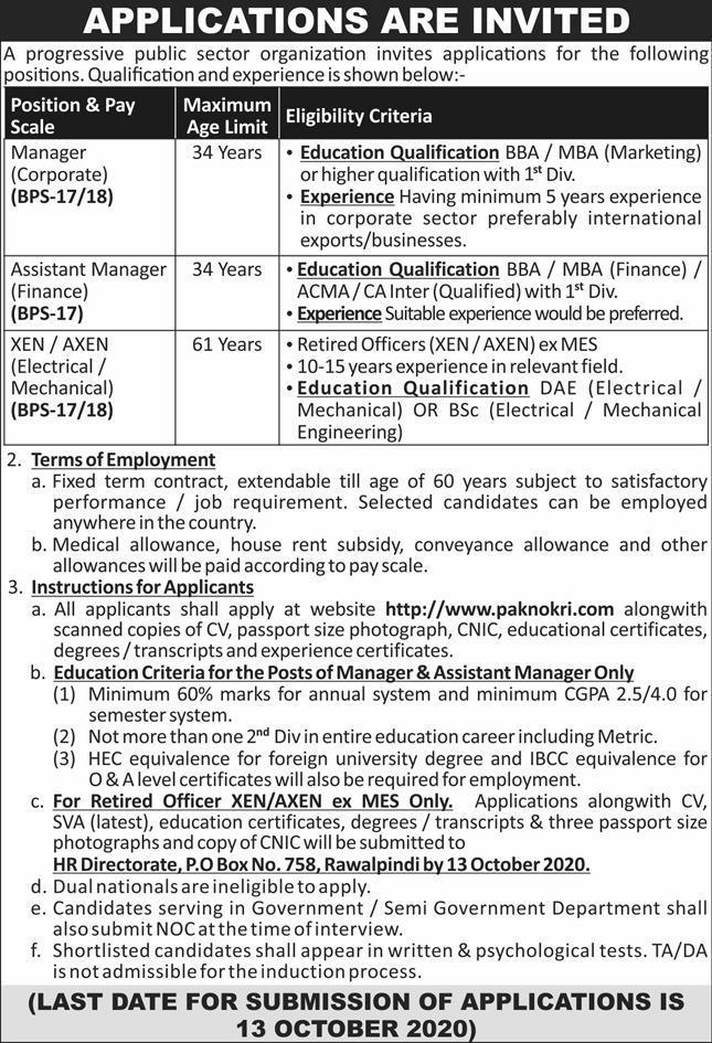 Public Sector Organization Jobs 2020 in Rawalpindi