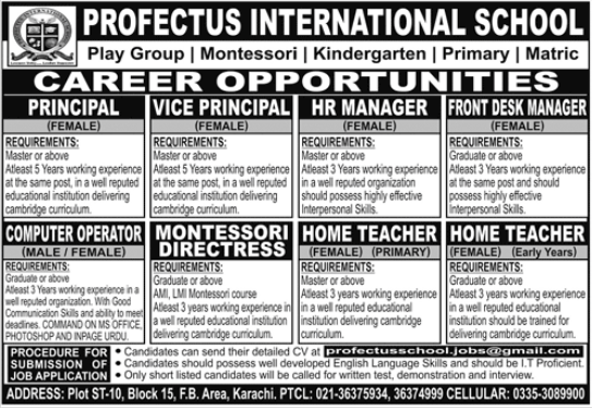 Profectus International School Jobs 2020 in Karachi