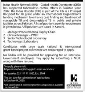 Indus Health Network IHN Jobs 2020 in Karachi