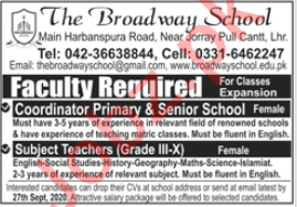 The Broadway School Lahore Jobs 2020 for Teachers