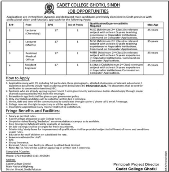Pakistan Army Cadet College Jobs 2020 in Ghotki Sindh
