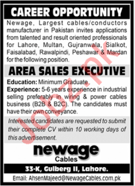 Newage Cables Lahore Jobs for Area Sales Executive