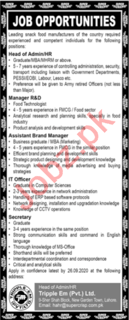 Tripple EM Lahore Jobs 2020 for Head of Admin & HR