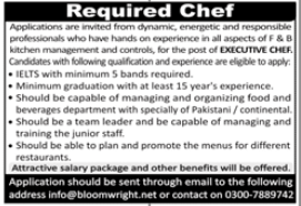 Executive Chef Job 2020 in Rawalpindi
