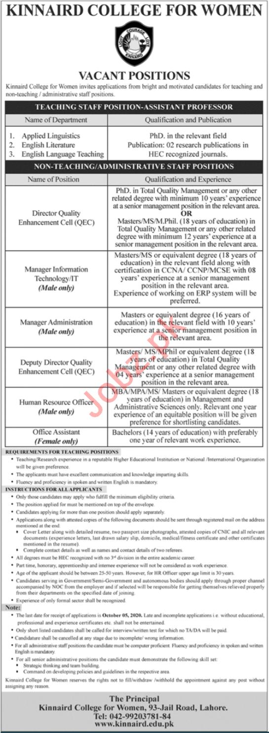 Kinnaird College for Women KCW Lahore Jobs 2020