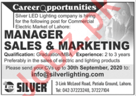 Silver LED Lighting Lahore Jobs 2020 for Manager Sales