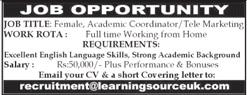Academic Coordinator & Telemarketing Staff Jobs 2020