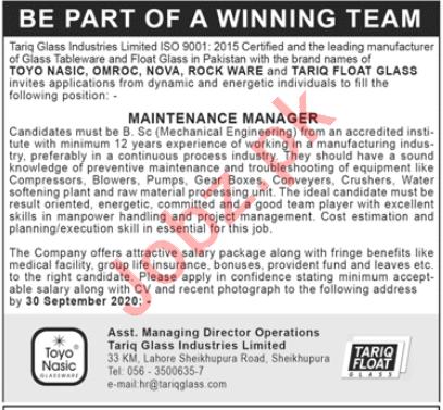 Maintenance Manager Jobs 2020 in Tariq Glass Industries