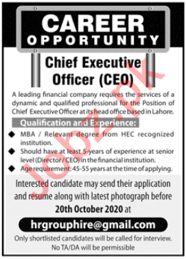 Chief Executive Officer & CEO Jobs 2020 in Lahore