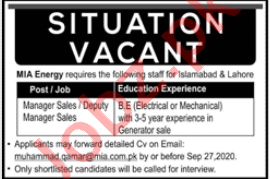 Mia Energy Lahore Jobs 2020 for Manager Sales