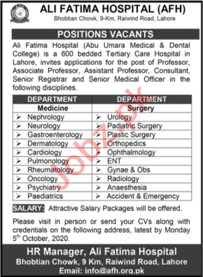 Ali Fatima Hospital AFH Lahore Jobs 2020 for Professors