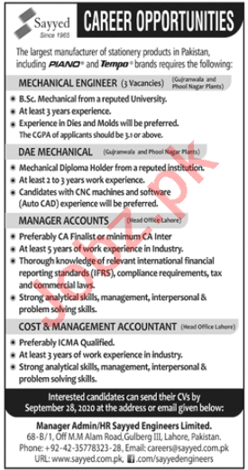 Sayyed Engineers Jobs 2020 for Mechanical Engineer