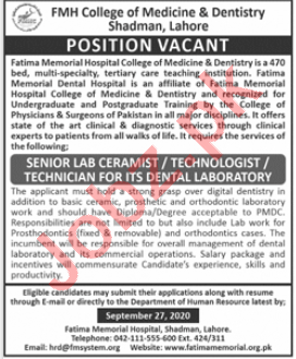 FMH College of Medicine & Dentistry Lahore Jobs 2020