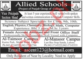Allied Schools Lahore Jobs 2020 for Principal & Teachers