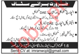 Incharge Mechanical Workshop & Electrical Incharge Jobs 2020