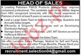 Head of Sales Jobs 2020 in Lahore