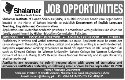 Shalamar Institute of Health Sciences Faculty Jobs 2020
