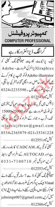 Jang Sunday Classified Ads 20 Sept 2020 for Computer Staff