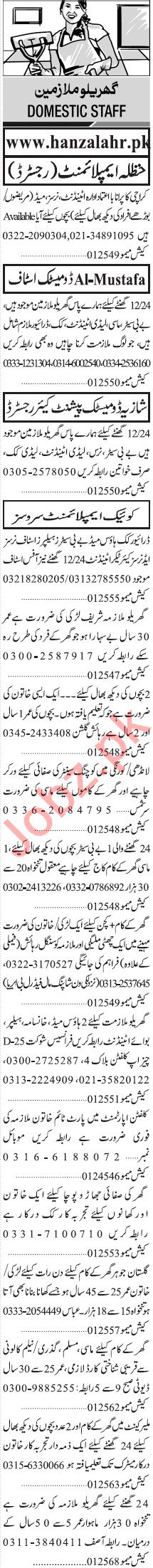 Jang Sunday Classified Ads 20 Sept 2020 for House Staff
