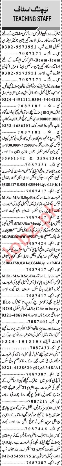 Jang Sunday Classified Ads 20 Sept 2020 for Educational