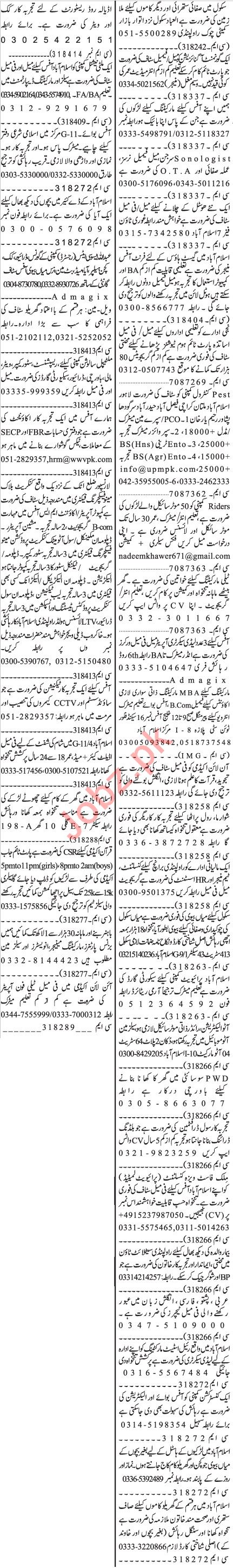 Jang Sunday Classified Ads 20 Sept 2020 for Office Staff