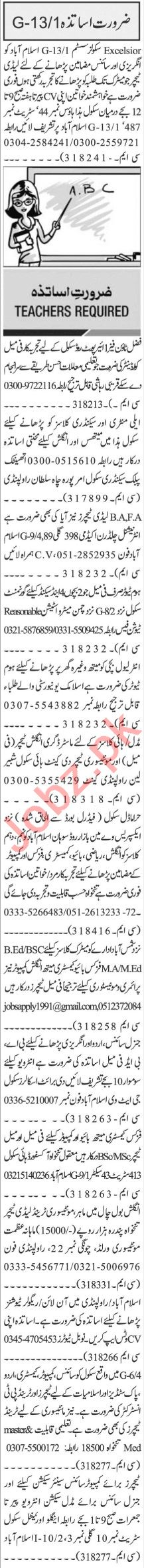 Jang Sunday Classified Ads 20 Sept 2020 for Teaching Staff
