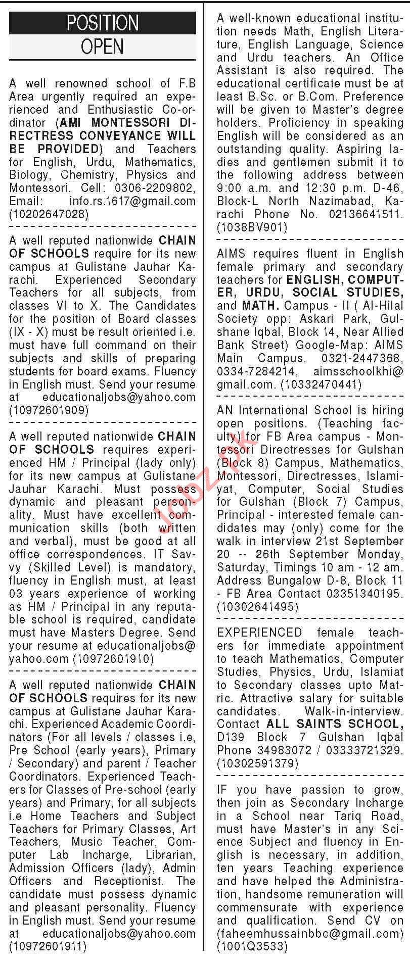 Dawn Sunday Classified Ads 20 Sept 2020 for Teaching Staff