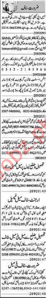 Dunya Sunday Classified Ads 20 Sept 2020 for Office Staff