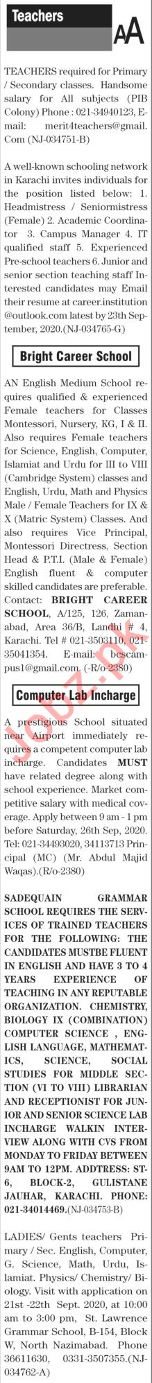 The News Sunday Classified Ads 20 Sept 2020 for Teachers