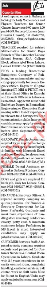 The News Sunday Lahore Classified Ads 20 Sept 2020