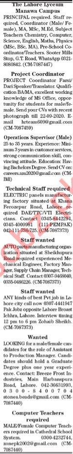 The News Sunday Classified Ads 20 Sept 2020 Multiple Staff