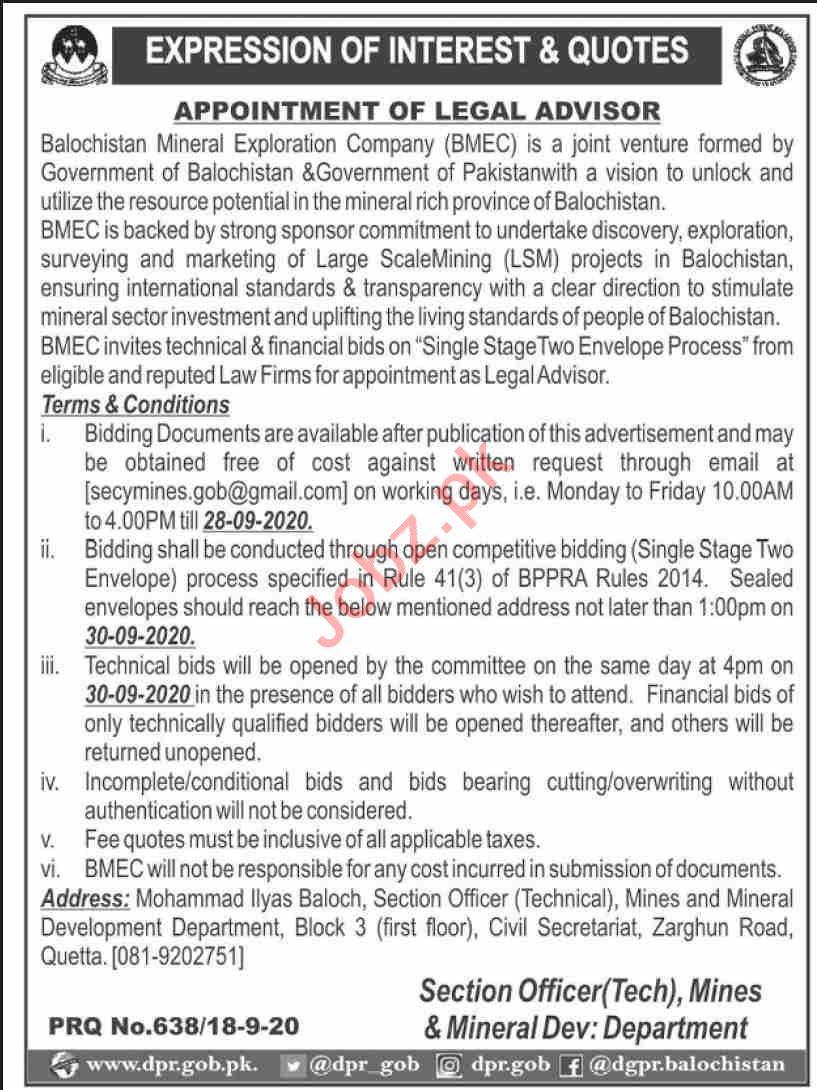 Balochistan Mineral Exploration Company BMEC Jobs 2020