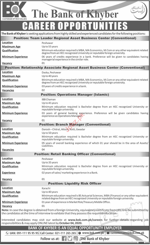 Branch Manager & Team Leader Jobs in Bank of Khyber BOK
