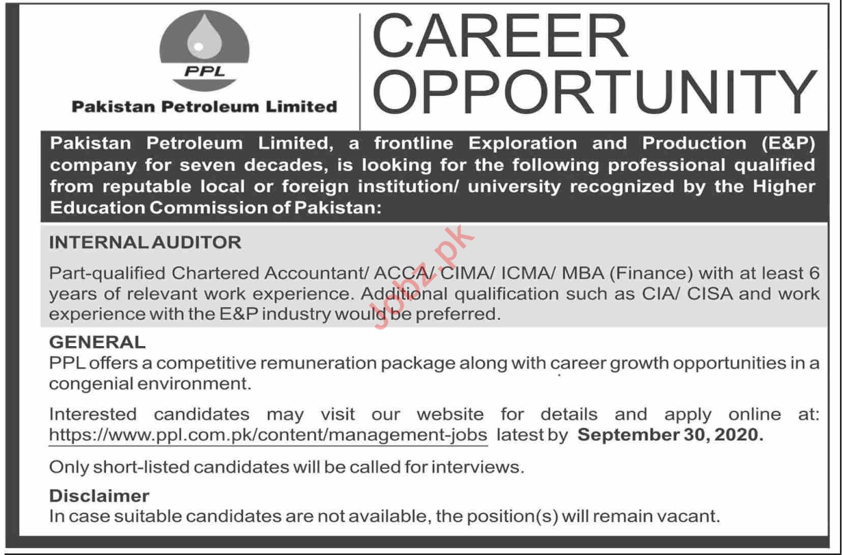 Pakistan Petroleum Limited PPL Jobs 2020 Internal Auditor