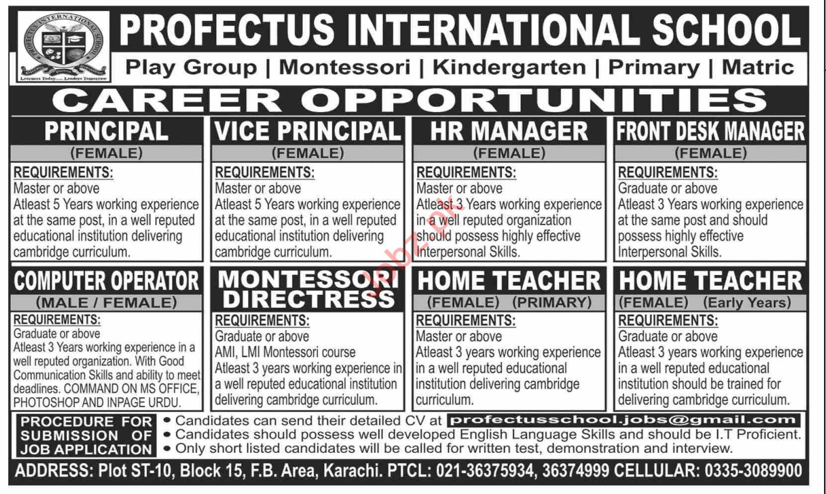 Profectus International School Karachi Jobs 2020 for Teacher