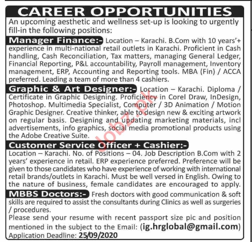 Manager Finance & Art Designer Jobs 2020 in Karachi