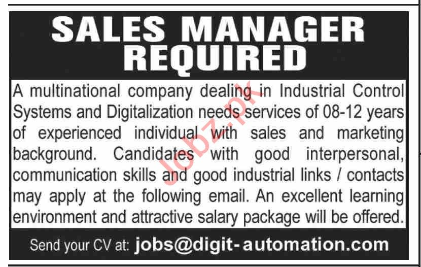Digit Automation Karachi Jobs 2020 for Sales Manager