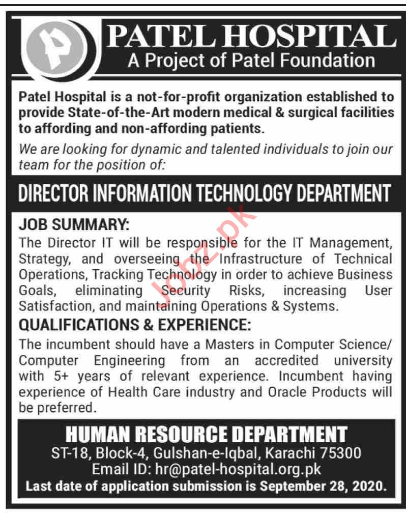 Patel Hospital Karachi Jobs 2020 for Director IT