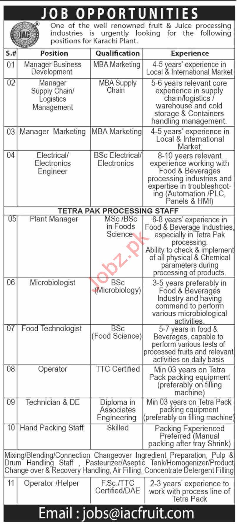 IAC Fruit Karachi Jobs 2020 for Manager & Engineer