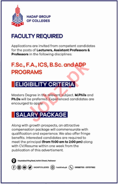 Hadaf Group of Colleges Peshawar Jobs 2020 for Professor