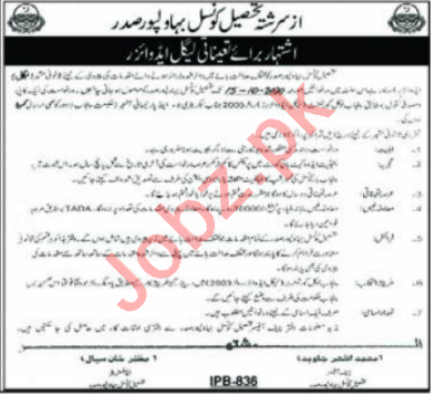 Tehsil Council Bahawalpur Saddar Jobs 2020 Legal Advisor