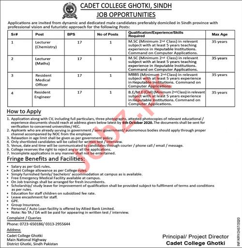 Lecturer & Resident Engineer Jobs in Cadet College Ghotki
