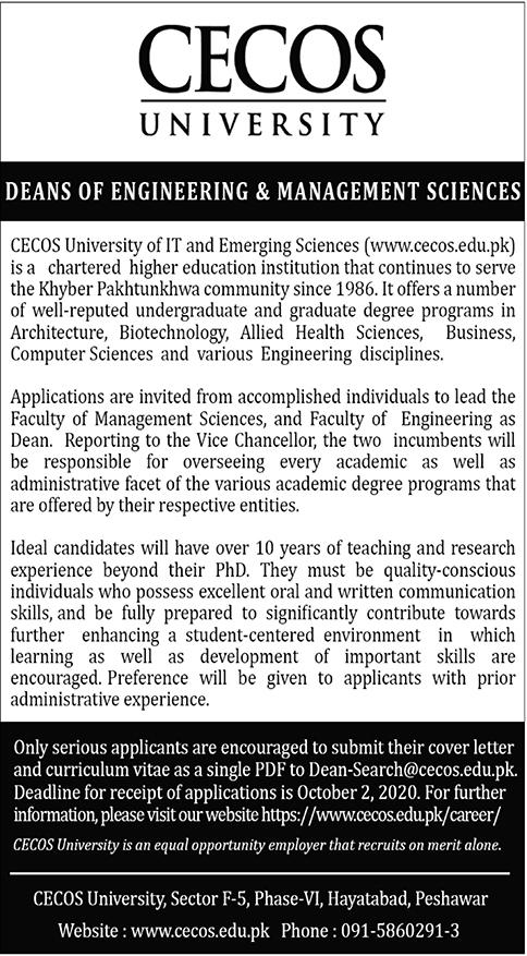 CECOS University Job 2020 in Peshawar KPK