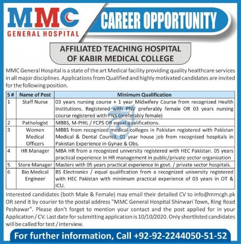 MMC General Hospital Jobs 2020 For Peshawar KPK